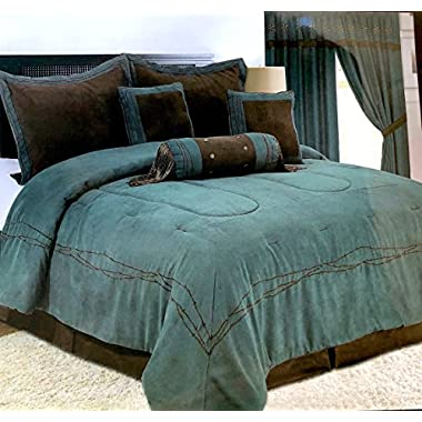 Rustic Turquoise Western Barbwire Comforter - 7 Piece Set (Oversized King)