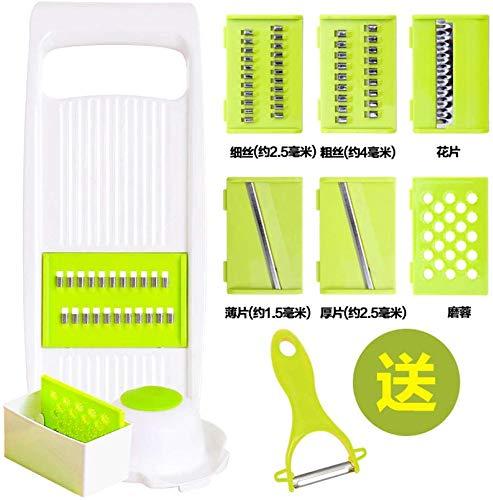 Soul hill Slicer Multi-Funktions-Kartoffel-Seide-Plug Startseite Ginger Silk Multi-Funktions-Cut Push-Scraping Hobel Küchen Artifact-Rot 6 Messer Slicer (Color : Green 6 Knife)