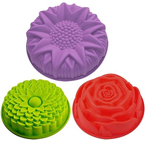 Lot de 3 moules en forme de fleurs en silicone pour gâteau, tarte, flan, Senhai Grande forme ronde de tournesol, chrysanthème, rose, moule de cuisson anti-adhésif pour fête d'anniversaire artisanale