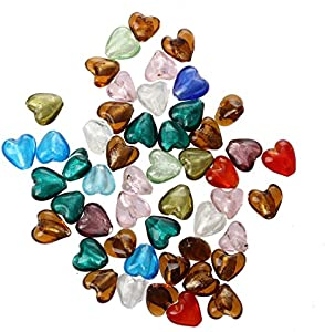 Cikuso 50 X Murano de Cristal Perlas de Colgante En Forma de Corazon 12MM