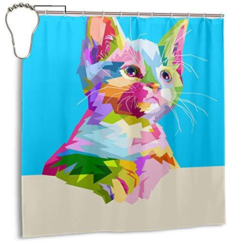 Xinfub - Cortina de ducha con diseño de gato y animal, de poliéster, estampada artística colorida, cortina de ducha, impermeable, incluye gancho, 182.88 x 182.88 cm