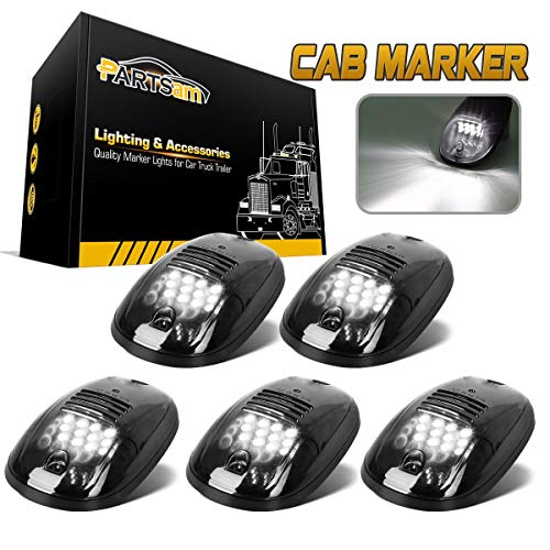 Partsam 5PCS Cab Lights LED Cab Marker Top Roof Running Lights Clear Lens White 9 LED Assembly Light Compatible with Dodge Ram 1500 2500 3500 4500 5500 2003-2018 Pickup Trucks(T10 Plug)