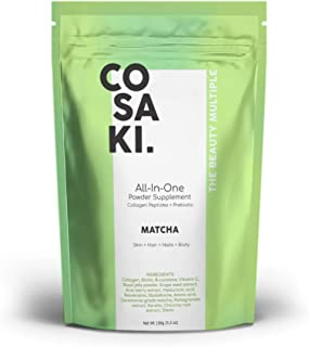 Cosaki Collagen Peptides Powder + Hyaluronic Acid + Biotin + Vitamin C + Prebiotic, All-Natural Gluten Free and Non-GMO (150g Pouch) (Matcha)