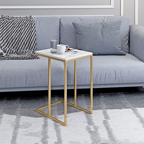 Witte marmer salontafel, gouden smeedijzeren frame, moderne minimalistische decoratieve bijzettafel, geschikt voor woonkamer, kantoor, slaapkamer (13,7 × 16,9 × 22,8in)