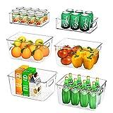 Juego de 6 Organizadores de Nevera (4 Grandes / 2 Pequeños), FINEW Organizadores para la despensa, Transparente Organizador de Caja de Almacenamiento para Cocinas, Refrigeradores, Armarios - sin BPA