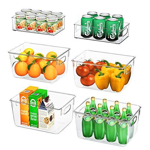 Kühlschrank Organizer 6er Set (4 Große/2 Mittel), FINEW Hochwertig Speisekammer Vorratsbehälter mit Griff, Durchsichtig Aufbewahrungsbox Organizer, ideal für Küchen, Kühlschrank, Schränke -BPA Frei