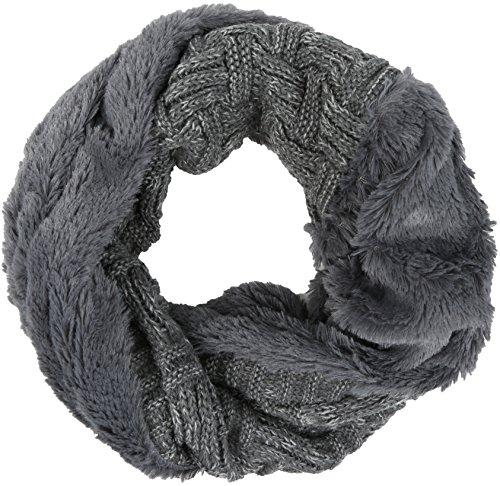 Sakkas 16106 - Dalien Kurz Länge Zwei Sided-Pelz-gewelltes Zopfmuster Unendlichkeit Schal - Grau - OS