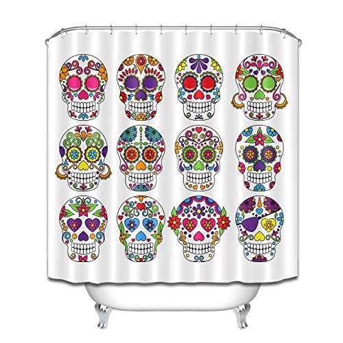 Nyngei Duschvorhang-Einsatz Candy Rose Skull Wasserdichter Stoff Badezimmer-Dekor-Haken-Set 183 x 183 cm