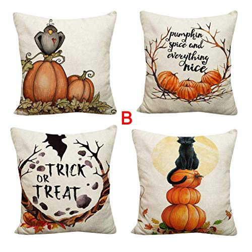4PCS Happy Halloween Pillow Covers 18x18 Inch, Cotton Linen Burlap Pumpkin Garland Fresh Style Throw Pillow Cases for Home Farmhouse Decorations Thanksgiving Halloween Decorative Pillow Cover