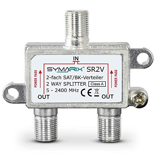 SAT & BK-Verteiler - 2-Fach Splitter - voll geschirmt - Unicable & UHD tauglich SYMARIX SR2V - für Satelliten-Anlagen DVB-S2 - BK - UKW Radio - DC-Durchlass - TV Antennen Fernseh Verteiler