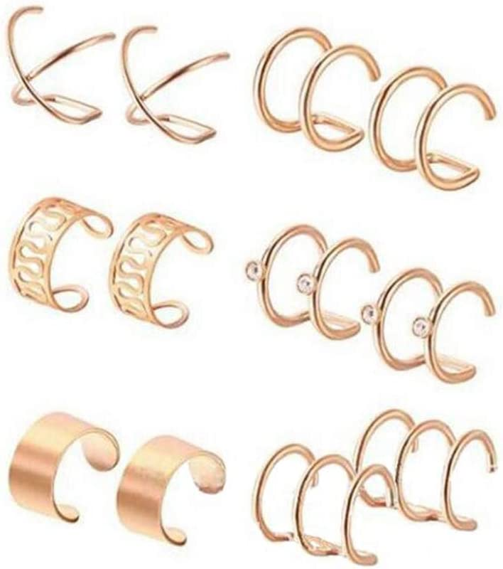 6Pairs Different Design Stainless Steel Ear Cuff Ear Rings Helix Cartilage Clip on Earrings Non Piercing Cartilage Earrings Clip on Fake Lip Tragus Helix Body Jewelry Set for Men Women Girls Supply