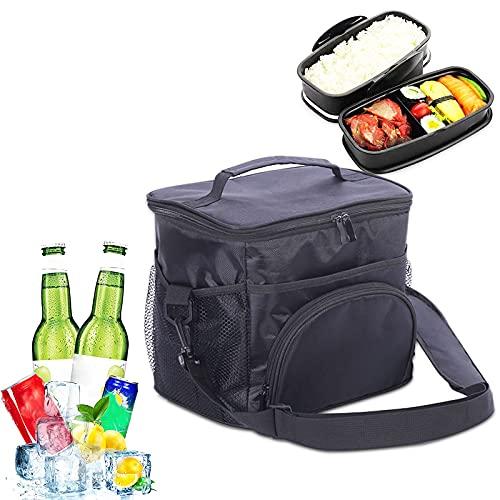 Bolsa nevera grande plegable térmica, bolsa isotérmica, bolsa isotérmica, bolsa de la compra para el almuerzo, bolsa suave para senderismo, picnic al aire libre, barbacoa, trabajo, almuerzo (negro)