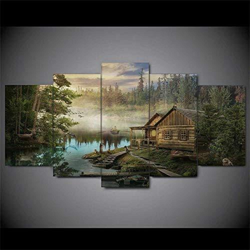 DBFHC Cuadro En Lienzo 5 Piezas Pintura Río Elk Cabin Woods Moderno Fotos Material Te Jido No Tejido Arte Pared Decoración Hogareña Impresió