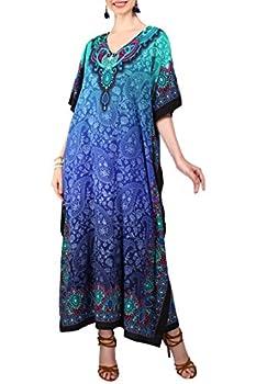 Miss Lavish London Ladies Kaftans Kimono Maxi Style Dresses Suiting Teens to Adult Women in Regular to Plus Size  US 20-24 101-Blue