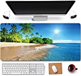 31.5x11.8 Inch Tropical Palm Sea Beach View Long Extended Large Gaming Mouse Pad with Stitched Edges XL Laptops Keyboard Mouse Mat Desk Pad