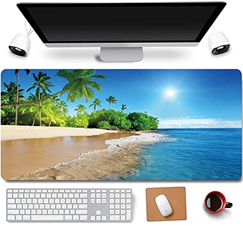 31.5x11.8 Inch Tropical Palm Sea and Beach View Non-Slip Rubber Extended Large Gaming Mouse Pad with Stitched Edges Computer Keyboard Mouse Mat PC Accessories (21-Beach)