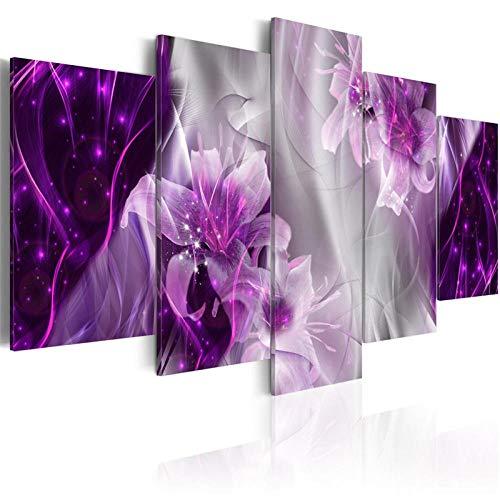 YCCYYYI 5 Stück Klassische Blumen Poster Bling Wandkunst Elegante Lilien Blüte Leinwand Malerei Bilder für Wohnzimmer Home Decor