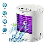 Mobile Klimaanlage, Mini Tragbare Klimageräte USB Luftkühler 3 Geschwindigkeiten, Luftbefeuchter, Ventilator, Nachtlichter 5 in 1 Klein Klimagerät mit Lila Farben LED Leuchten