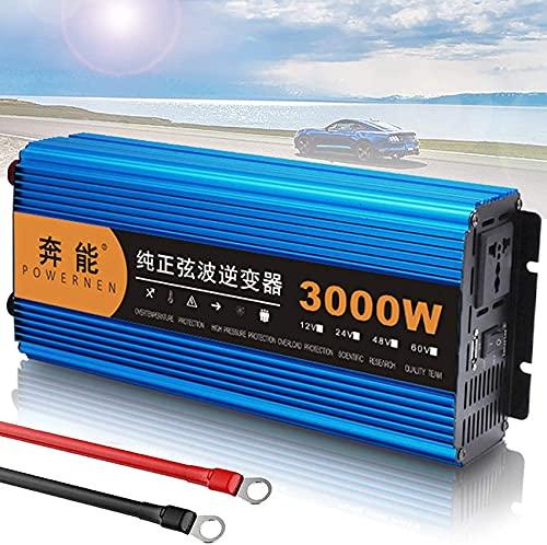 Inversor de onda sinusoidal pura 3000W 4500W 6000W 8000W Inversor de corriente DC 12V a AC 220V 230V 240V Transformador de voltaje, inversor de corriente con toma de CA y puerto USB para viajes, 3000W
