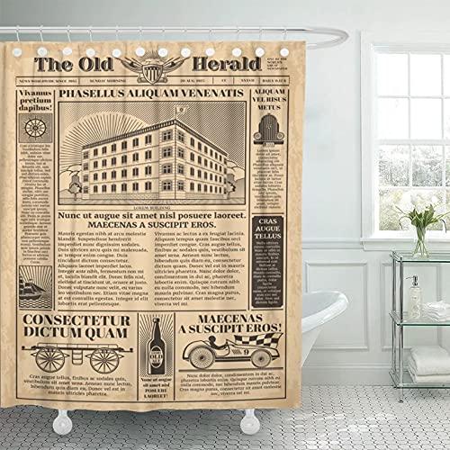 Fmiljiaty Duschvorhang Buntes Bad Dekor Alte Vintage Zeitung mit Zeitungspapier Text für Artikel Nachrichten Zusammenfassung Polyester Stoff Duschvorhang mit 12 Kunststoffhaken-180x200cm