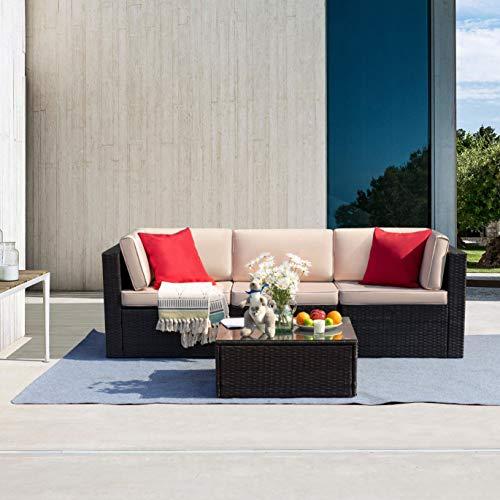 Tuoze 4 Pieces Patio Furniture Sets PE Wicker Rattan Outdoor Sectional Garden...