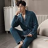 Perfttyy Conjunto de pijama de los hombres de invierno 100% algodón pijamas para hombres Lounge ropa de dormir pijamas azul...