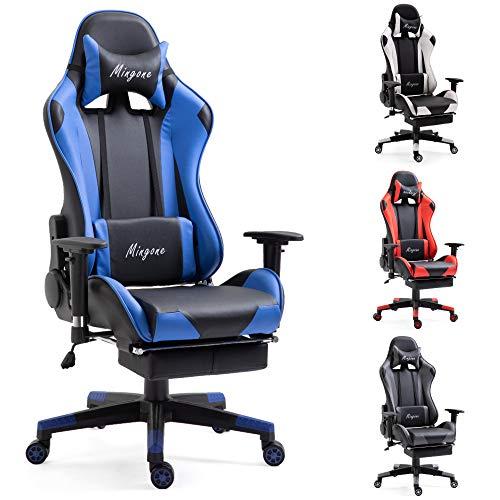 Mingone Essentials Gaming Stuhl Racing Stuhl Computerstuhl Chefsessel Höhenverstellbarer Schreibtischstuhl Ergonomisches Design mit Verstellbaren Armlehnen und Wippfunktion (Blau)