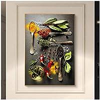 Whhomecp-アートパネル キッチンキャンバス絵画穀物スパイススプーンペッパーポスターとプリントウォールアートスカンジナビアクアドロスキッチンウォールecals115.7x23.6in(40x60cm)x1pcsフレームなし