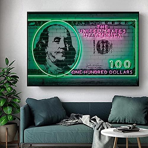 SXXRZA Exquisita Imagen 40x60 cm sin Marco Arte de la Pared póster Pintura Impresiones en dólares Imagen Bar Figura de neón Pintura Sala de Estar Dormitorio decoración del hogar