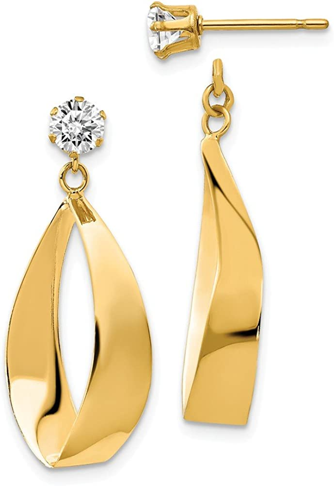 Solid 14k Yellow Gold Oval Dangle with CZ Cubic Zirconia Stud Earring Jackets - 28mm x 11mm