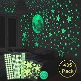 HOMMINI Leuchtsticker Wandtattoo 435 /Leuchtpunkte selbstklebend und 30cm Mond Wandsticker für Sternenhimmel- selbstklebend und fluoreszierend Leuchtaufkleber für Kinderzimmer