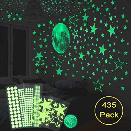 HOMMINI Leuchtsticker Wandtattoo 435 /Leuchtpunkte selbstklebend und 30cm Mond Wandsticker für...