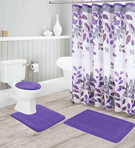 Better Home Style 16 Piece Solid Color Modern Design Embossed Foam None-Slip Bathroom Rug Set Includes Bath Rug, Contour Mat, Lid Cover, Shower Curtain and 12 Roller Ball Hooks (Purple)