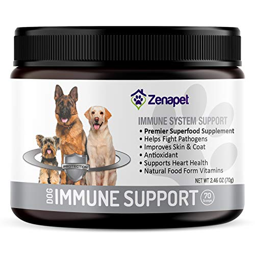 Zenapet Superfood Allergy and Immune Supplement for Dogs - with Turkey Tail Mushroom, Beta Glucan, Spirulina & Resveratrol - Natural Dog Vitamins and Supplements Powder to Boost Immunity & Health