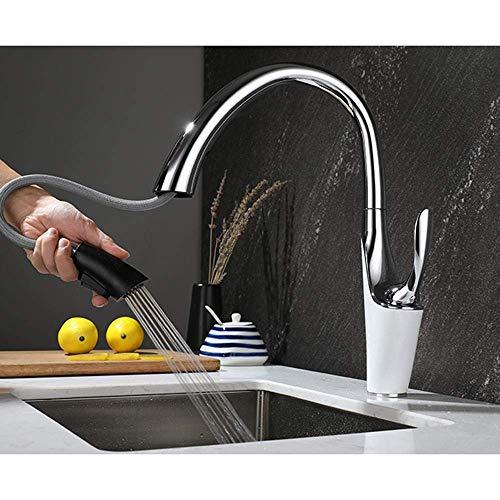 YBQ. Küchenarmaturen mit ausziehbarem Spray ausziehbarer Küchenarmatur heiß und kalt versenkbar versenkbar 2 Modi Einhand-Einloch-A (Color : 6-d)