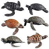 FLORMOON Figuritas De Tortuga 6 Piezas Realista mar océano Figuras Animales Set de Figuras de Tortuga Carey de plástico Juguetes educativos de Aprendizaje para niñas niños pequeños