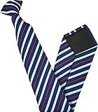 Herren Clip auf Krawatte - Marineblau mit Weiß & Red Streifen