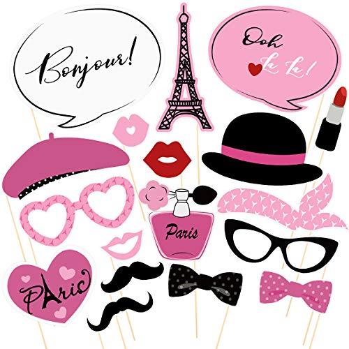 Amosfun Paris Photo Props Paris Party Photo Booth Props Kit Paris Themed Decoration French Photo Booth Props, Eiffel Tower, oh la la Party Favors 18PCS