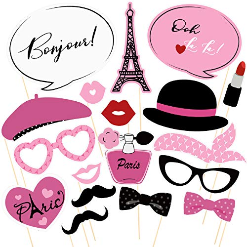 BESTOYARD Paris Foto Booth Requisiten Kit Paris Party Dekoration Paris Themenorientierte Requisiten für Geburtstag Hochzeitsclub Junggesellenabschied Gefälligkeiten (18 STÜCKE Rosa)