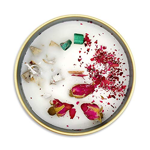 Fifi Peony's Gemstone Candles - Scented with Juicy Pears and Calming Vanilla. Infused with Malachite & Handplaced White SAGE in Soy Wax Poured into a Gold Tin. Wooden Wick. 8oz
