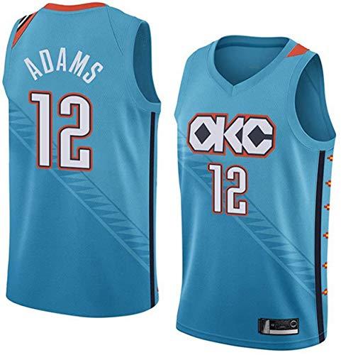XSJY Männer Basketball Jersey NBA OKC # 12 Steven Adams Classic Atmungsaktive Stoff Klassische Retro- Mode Sleeveless Weste T-Shirt Unisex,A,L:175~180cm/75~85kg