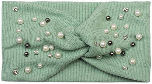 styleBREAKER Damen Haarband in Feinripp Optik mit Schleife, Strass und Perlen, Twist Knoten, Stirnband, Headband 04026011, Farbe:Mint