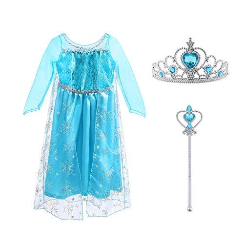 Vicloon Prinzessin Kostüm Mädchen, Eiskönigin ELSA Kleid Blau mit Diademe & Zauberstab, für Weihnachten Karneval Party Halloween Fest, 6-7 Jahre Size 140cm Blau