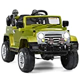 HONEY JOY Ride On Truck, 12V Battery Powered Electric Vehicle for Kids, 2 Speeds, LED Lights, Double Open Doors, Safety Belt, Music, Spring Suspension, Ride On Toy Car with Remote Control, Green