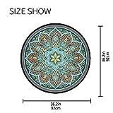 Mnsruu Boho Mandala türkis rund Bereich Teppich für Wohnzimmer Schlafzimmer 3' Durchmesser (92 cm) - 5