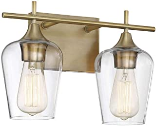 Savoy House 8-4030-2-322 Octave 2-Light Bathroom Vanity Light in a Warm Brass Finish with Clear Glass (14