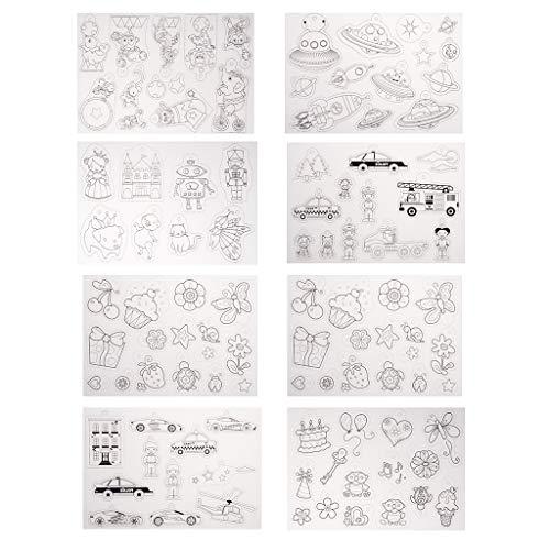 Baoblaze 8 Blatt Multi-Pattern-Designs Schrumpfen Kunststoff Schrumpffolie für Handgefertigte Schmuck Anhänger Kinder Spielzeug