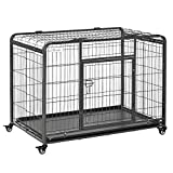 PawHut Folding Design Heavy Duty Metal Dog Cage Crate & Kennel with Removable Tray and Cover, & 4 Locking Wheels, Indoor/Outdoor 43' x 28' x 30.75'
