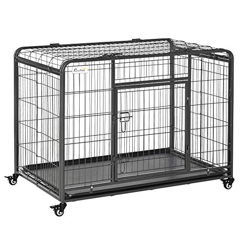 PawHut 43' L x 28' W x 30.75' H Heavy Duty Metal Dog Crate & Kennel with Removable Tray, 4 Wheels, & Folding Design