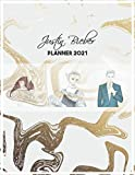 Justin Bieber Planner 2021: DATED Calendar | Daily & Weekly & Monthly Journal | Organizer For Work & School & Home | Gold Marble